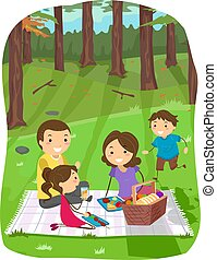 家族, イラスト, ピクニック, stickman, 森林