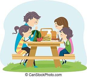 家族, イラスト, ピクニック, stickman, 食物, 祈る