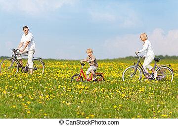 家族, サイクリング, によって, 自然