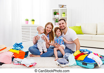 家族, スーツケース, 旅行, 父, 2, 休暇, 子供, 母, 旅行, パックされた, 幸せ