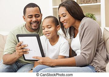 家族, タブレット, アメリカ人, コンピュータ, アフリカ, 使うこと