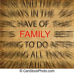 家族, テキスト, フォーカス, ペーパー, blured, 型
