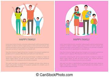 家族, テキスト, 一緒に, 時間, ポスター, 費やしなさい, 幸せ