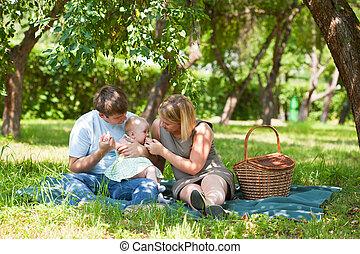 家族, ピクニックを持っていること, パークに