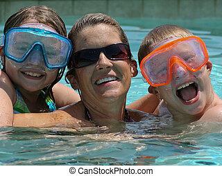 家族, プール, 楽しみ