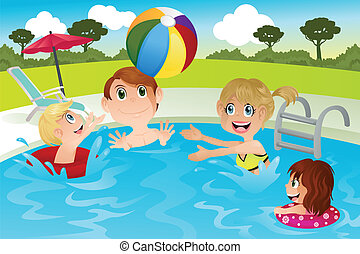 家族, プール, 水泳