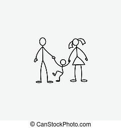 家族, ベクトル, 棒 図, アイコン