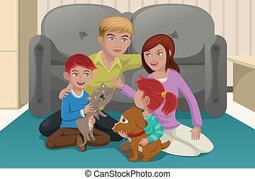 家族, ペット, 幸せ