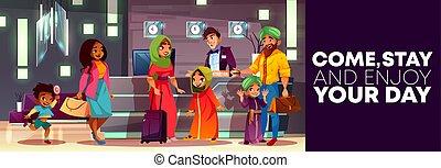 家族, ホテル, アラビア人, ベクトル, レセプション, 漫画