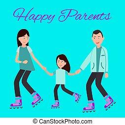 家族, ポスター, イラスト, ベクトル, 親, 幸せ