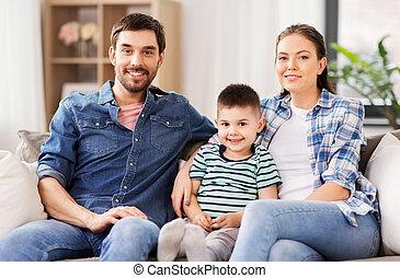 家族, モデル, ソファー, 家, 肖像画, 幸せ
