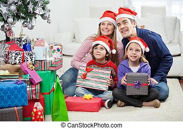 家族, モデル, 帽子, プレゼント, santa, クリスマス