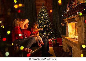 家族, モデル, 火, 木。, 場所, クリスマス, 幸せ