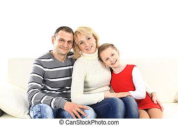 家族, モデル, 革ソファー, 2, 白, 子供