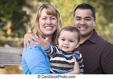 家族, レース, ポーズを取る, 民族, 混ぜられた, 肖像画, 幸せ