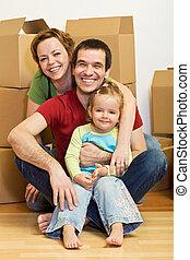 家族, ロット, ∥(彼・それ)ら∥, 箱, 家, 新しい, 幸せ