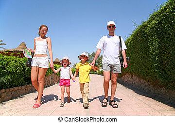 家族, 上に, リゾート