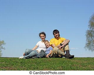 家族, 上に, 草