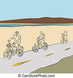 家族, 乗馬, bicycles, 浜