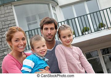 家族, 人々のモデル, 4, 新しい, 前部, 家, 幸せ