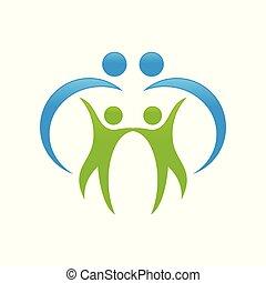 家族, 人々, シンボル, 保護, デザイン, swoosh, 幸せ