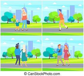 家族, 人々, 出費, カップル, 公園, 時間