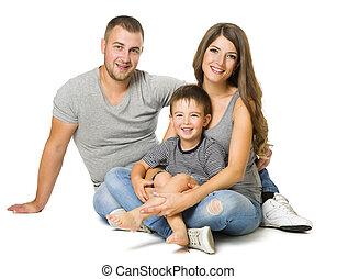 家族, 人々, 息子, 上に, 父, 3, 隔離された, 背景, 親, 母, 白, 子供, 幸せ
