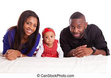 家族, 人々, -, 若い, アメリカ人, 黒, アフリカ, 肖像画