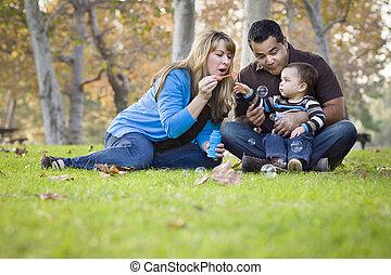 家族, 公園, レース, 民族, 混ぜられた, 泡, 遊び, 幸せ