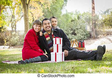 家族, 公園, 一緒に, 贈り物, レース, 混ぜられた, 楽しむ, クリスマス