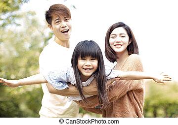 家族, 公園, 一緒に, inthe, 遊び, 幸せ