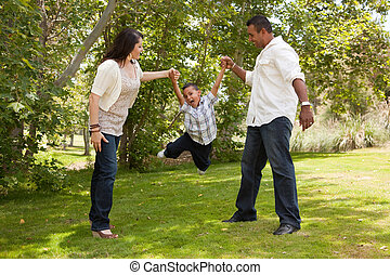 家族, 公園, 若い, ヒスパニック, 楽しみ, 持つこと