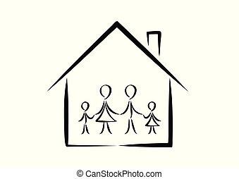 家族, 単純である, 家, 隔離された, イラスト, 背景, ベクトル, doodles, 白, 横