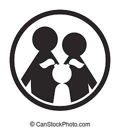 家族, 単純である, 黒い円, 白, アイコン