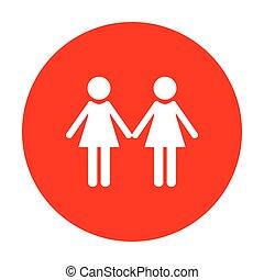 家族, 印。, レズビアン, 白, circle., 赤, アイコン