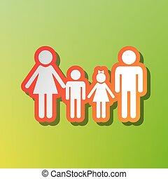 家族, 印。, 対照, アイコン, ∥で∥, 赤味がかった, ストローク, 上に, 緑, backgound.