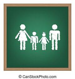 家族, 印。, 白, チョーク, 効果, 上に, 緑, 学校, board.
