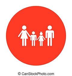 家族, 印。, 白, circle., 赤, アイコン