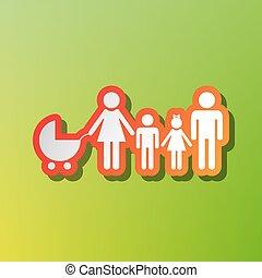 家族, 印, illustration., 対照, アイコン, ∥で∥, 赤味がかった, ストローク, 上に, 緑, backgound.