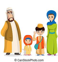 家族, 国民, muslim, 衣装, clothes., 親, イスラム教, アラビア, 子供