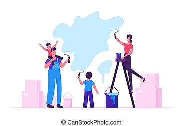 家族, 壁, house., 子供, 改修, 時間, 親, 新しい, home., 幸せ, 平ら, 活動, イラスト, スペアー, 作成, 漫画, 子供, ローラー, 一緒に, ベクトル, 時間, 引っ越し, 絵, 費やしなさい