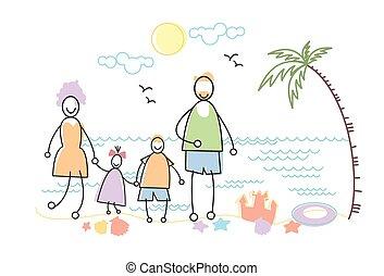 家族, 大きい, 海岸, 2, 親, 立ちなさい, 海, 休日, 浜, 子供