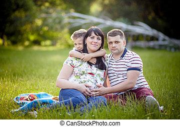 家族, 妊娠した, 息子, 父, 母, 肖像画, 幸せ