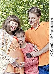 家族, 妊娠した, 父, 息子, 母, 幸せ
