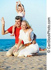 家族, 子と一緒に, 海で, 浜