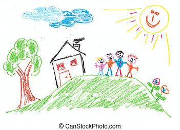 家族, 子供, -, 想像力, 子供, drawing:
