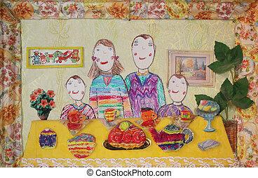 家族, 子供, family., 2人の子供たち, 図画, 幸せ