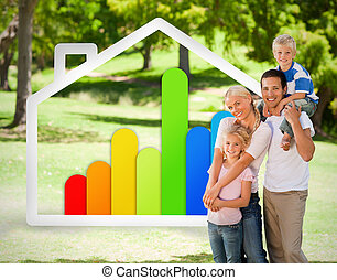 家族, 家, エネルギー, イラスト,  effiecient, 幸せ