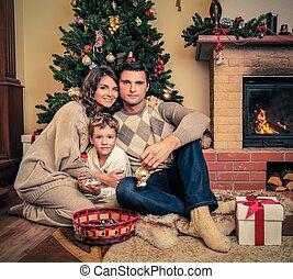 家族, 家, 内部, 飾られる, 暖炉, クリスマス
