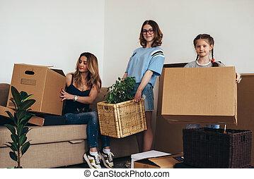 家族, 家, 箱, 引っ越し, 新しい, ボール紙, 日